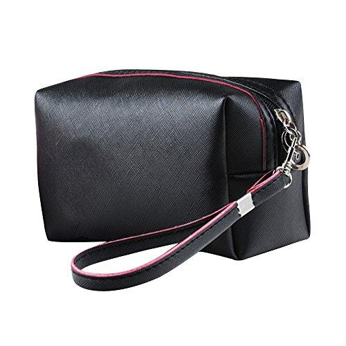 Contever® PU Cosmetico Mano Borsa di Trucco di Caso dell'organizzatore del sacchetto Borsetta Zipper - Nero
