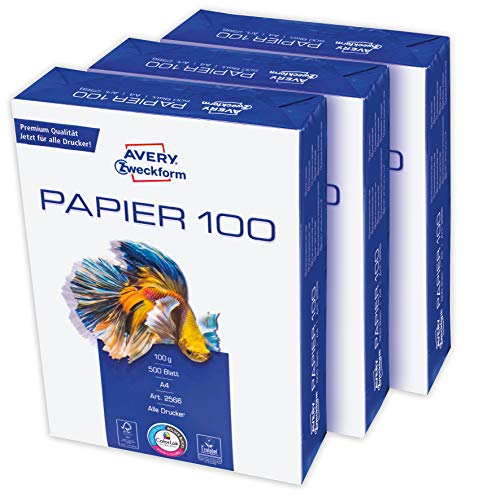 AVERY Zweckform 2566 Druckerpapier, Kopierpapier (1.500 Blatt, 100 g/m², DIN A4 Papier, hochweiß, für alle Drucker) 1 Box mit 3 Pack