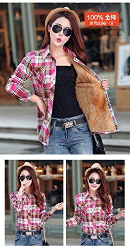 Smile YKK Chemisier Automne Femme Blouse Coton Velours Motif Carreaux Veste Hiver Chaud Café Rouge