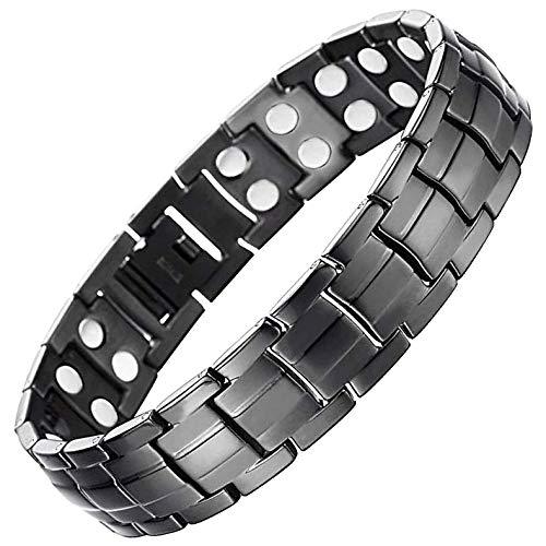 Holistic Magnets Magnetarmband für Herren, Titan, Schwarz, klein, groß, XL, Magnettherapie, Arthritis, Gelenk, Heilarmband für Herren, BT42, Edelstahl, Schwarz, 24 cm / 9.5 in