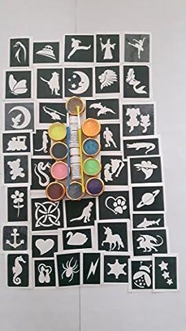 100 pochoir de tatouage pour les tatouages paillettes / art corporel + 10 paillettes couleurs garçons