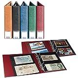 Sammelalbum LINDNER für Banknoten/Postkarten mit 20 geteilten, beidseitig bestückbaren Folienblättern, blau