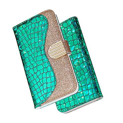 FNBK Kompatibel mit Hülle Samsung Galaxy S8 Plus Handyhülle Glitzer Leder Tasche Diamant Soft Schutzhülle Wallet Flip Case Stoßfest Brieftasche Kratzfest Backcover Kartenhalter Stand Handytasche,Grün (Soft-uhr)