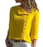 Udgwaz Damen Elegante Bluse Chiffon Lange Ärmel Oberteile Hemd Top Blusenshirt