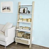 SoBuy Promotion -20% FRG112-WN, Ladder Shelf Wall Shelf Bookcase Storage Display Shelving Unit 4 Shelves Drawer