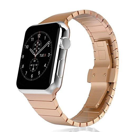 CoverKingz Apple Watch Armband Edelstahl 38mm für Series 1/2/3 Ersatzarmband Stainless Steel Bracelet Uhrenarmband Exklusiv Metall-Armband Rosegold