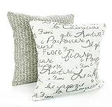 YorkeIII Taupe Designer Kissenbezüge Dekorative Überwurfkissen Italienische Schrift Kissen Tan Taupe Scott Living Stoff Bauernhaus Flachs 2er Set