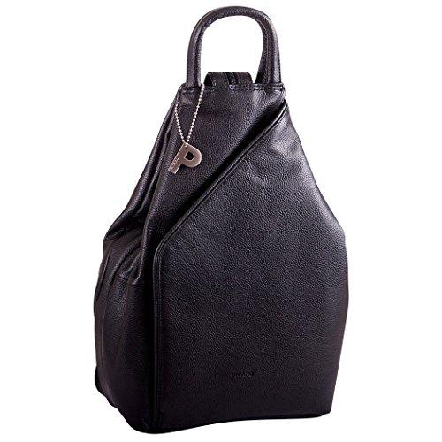 Picard Damen Rucksack Echtes Leder Backpack 21x31x10 cm (BxHxT), Farbe:Schwarz