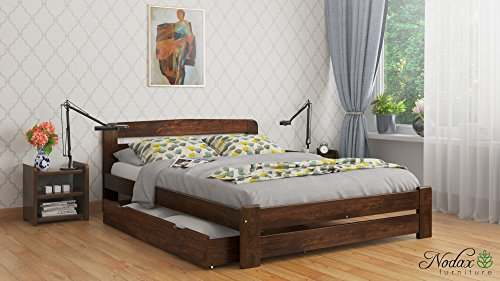 """New King Size Solid Wooden Bedframe""""F1"""" with slats (5ft, walnut)"""