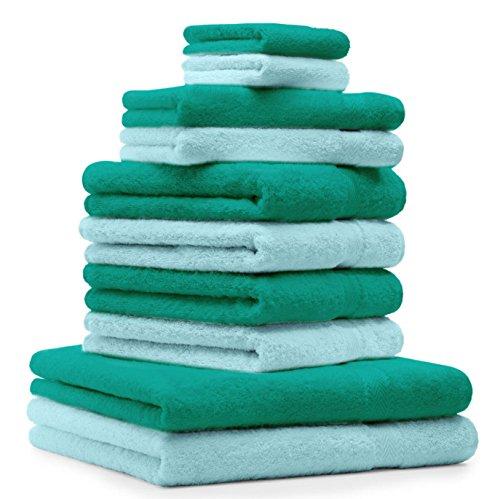 BETZ Lot de 10 serviettes Premium vert émeraude et turquoise, 2 serviettes de bain, 4 serviettes de toilette, 2 serviettes d'invité et 2 gants de toilette de