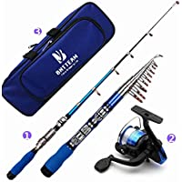 BNTTEAM Mini Spinning Ree y portátiles varilla telescópica Combos Rod Bag Reel /1.5M/62in/5ft