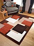 Tempo Rust Beige Square Design Thick Quality Modern Carved Rugs. Available in 6 Sizes (120cm x 170cm)