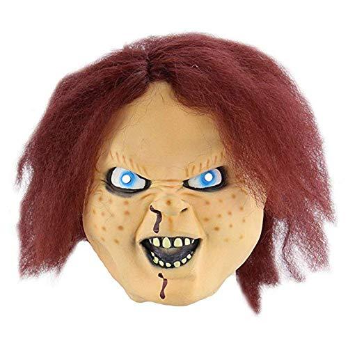 Ganquer Halloween Scary Puppe Party Maske Latex Requisiten Gesichtsmaske Weich Nicht Giftig Kostüm Cosplay Gesichts- Schutz - Wie abgebildet, Free Size (Scary Kostüm Puppen)