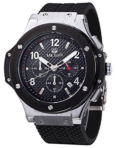 megir Herren Schwarz und Silber Fall Chronograph Military Sport Silikon Armbanduhr