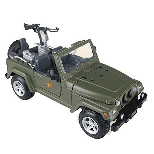 Vehículo Militar de Aleación de Coches de Juguete con Ametralladora del Buggy Jeep Modelo Eléctrica Set de Juego de Cumpleaños para niños