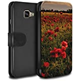Stuff4 Coque/Etui/Housse Cuir PU Case/Cover pour Samsung Galaxy A3 (2016) / Champ Coquelicots Design / Coquelicots Collection