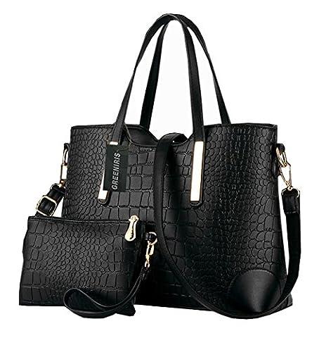 Greeniris Ladies PU Leather Handbags Purse Fashion Shoulder Bags Totes Handbags for Women with Matching Wallet Purse 2 Pieces Set Black