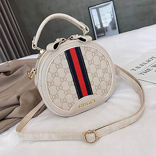 LFGCL Bags womenEmbossed Round Bag einfache Handtasche Wilder breiter Schultergurt Schulter umhängetasche, weiß