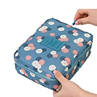 Shine-S Printing Style 5 Comaprtments Mesh Pouch Breathable Large Capacity Cosmetic Makeup Organiser Toilerty Bag for Teenagers and Ladies Travel (Sky Blue Flower)