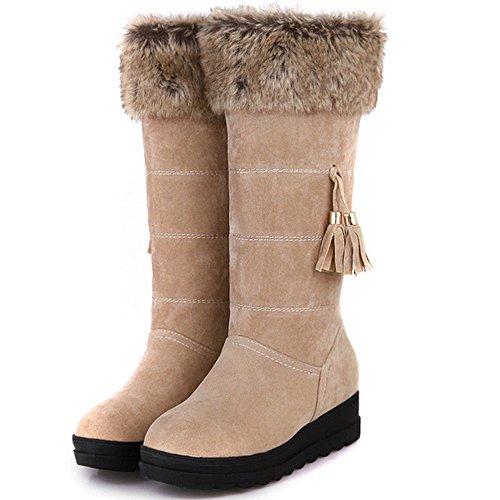 TAOFFEN Damen Winter Warm Flache Langschaft Schnee Stiefel Mit Synthetik Fell Beige