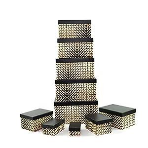 Gifts 4 All Occasions Limited SHATCHI-1292 - Cajas de almacenamiento con tapa de Shatchi (10 unidades, hechas a mano, decoración del hogar, regalos de Navidad, suministros para fiestas), color marrón