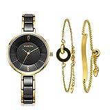 MAMONA Reloj de Mujer y Juego de Regalo de Brazalete de Acero Inoxidable para Damas/Reloj de Cerámica L3887BKGT Negro