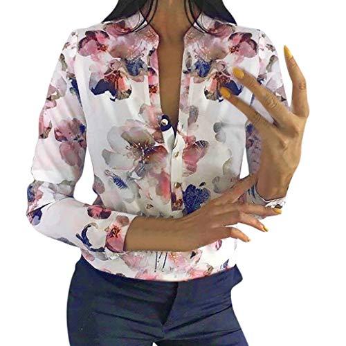 Mymyguoe T-Shirt Damen Sommer Kurzarm V-Ausschnitt Oberteile Damen Lässige Blume Print Taschen Bluse Kurzarmshirts Herbst Elegante Knöpfe drucken beiläufige lose Hemd-Spitzenbluse[Weiß,XL] -
