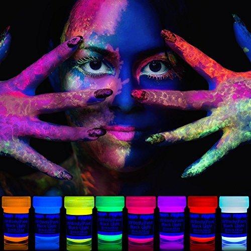 neon nights UV-Licht Bodypainting Schminke | Schwarzlicht-Körperfarbe für Body und Facepainting | Fluoreszierende Farben im Schminkset für knalligen Glow-Effekt | 8 x 20ml Leucht-Farben (Gesicht Um)