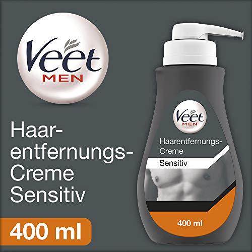Veet Men Haarentfernungscreme Sensitive (Schnelle und effektive Haarentfernung für Männer in nur 5-10 Minuten, 400 ml Spender mit Spatel)