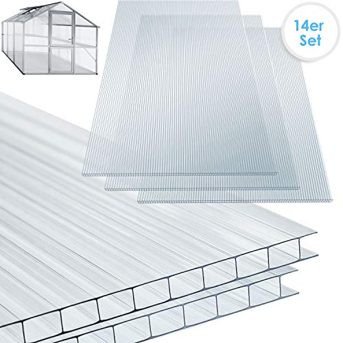 KESSER 14x Polycarbonat Hohlkammerstegplatten 4mm | 10,25 m² Doppelstegplatte - 1210x605 | Stegplatte Gewächshausplatte | stoßsicheren und...