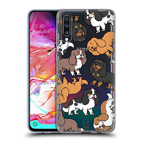 Head Case Designs Cavalier King Charles Spaniels Pattern Razze di Cani 3 Cover in Morbido Gel Compatibile con Samsung Galaxy A70 (2019)