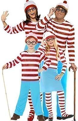 Disfraz para familia, hombre, mujer, niño y niña, diseño de Wally y Wenda del libro ¿Dónde está Wally?, para Halloween y fiesta de disfraces