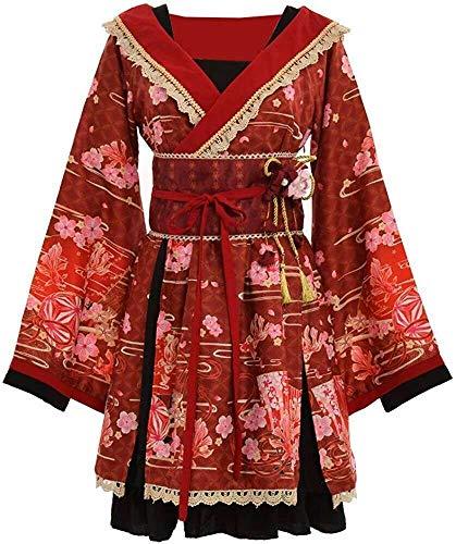 Double Villages Japanischen Stil Kimono Bademantel Kleid Anime Cosplay YUKATA Serie Japanischen Sommer Nette Mädchen Anime Cosplay Kostüme (Rot, S) (Japanische Yukata Kostüm)