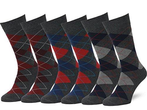 Easton Marlowe Classic Argyle Herren Business Socken - 6pk  2-8, Holzkohle & Rot/Blau - 39-42 EU Schuhgröße - 6 Pack Socken