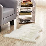 HomeZone Uni Weich Flauschig Schlafzimmer Fellimitat Gefälschte Einzeln Schafsfell Teppich Waschbar Umweltfreundlich Bunt Teppiche - Creme