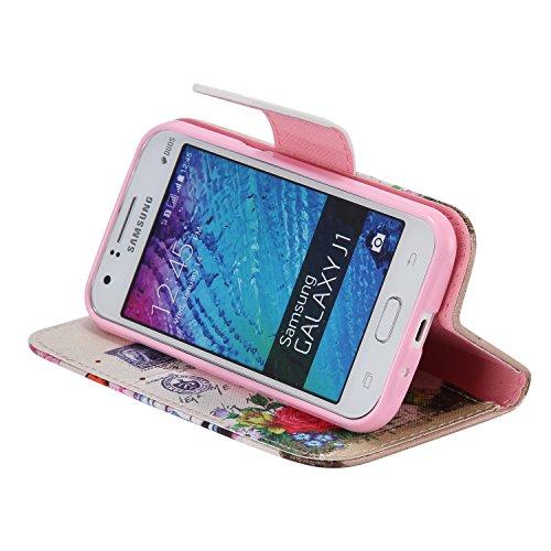 Ooboom® Samsung Galaxy J1 Coque PU Cuir Flip Housse Étui Cover Case Wallet Portefeuille Fonction Support avec Porte-cartes pour Samsung Galaxy J1(2015 Version) - Don't Touch My iPhone Fleur