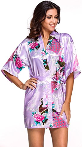 FLYCHEN Damen satin Morgenmantel Pfau und Blüten japanische kurze Kimonos Helllila-7