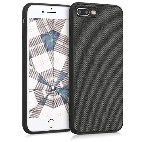 kwmobile Apple iPhone 7 Plus / 8 Plus Hülle - Stoff Hardcover mit TPU Rahmen - Backcover Case für Apple iPhone 7 Plus / 8 Plus -
