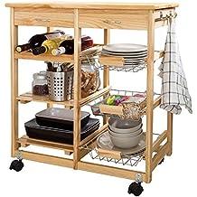 SoBuy® Carrito de servir, carrito de cocina, carrito con cajón, L67 x P37 x A75cm FKW04-N(madera)