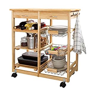 SoBuy Lengthen Size Solid Wood Kitchen Trolley Cart with Shelves & Drawer, FKW04-N