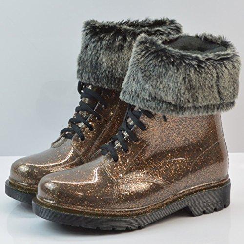 LvRao Frauen Hohe Knöchel Wasserdichte Schnee Regen Schuhe Kurze Stiefel Damen Garten Boots Gummistiefel Schnürstiefel Braun mit Pelz