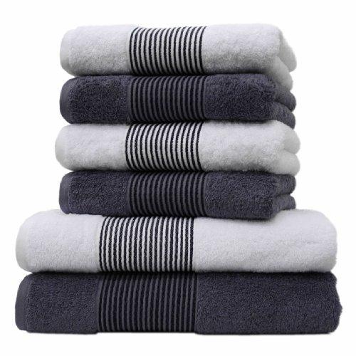 Liness Stripes 6 tlg Handtücher Set grau weiß 4 Handtücher grau weiß 50x100 cm 2x Badetuch Duschtuch 70x140 cm 100% Baumwolle Frottee Qualität Handtuch-Set grau weiß anthrazit gestreift