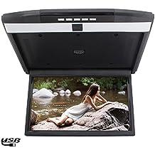 pantalla digital con una resoluci¨®n HD 1366 x 768 Overhead LCD / montaje en techo monitor de 15 pulgadas con pantalla grande para el coche universal del autom¨®vil incorporado modulador de FM / control remoto tir¨®n abajo Monitor de coche
