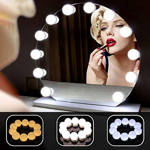 LEDSpiegelleuchteHollywood,10dimmbareGlühbirnenmit3Farblic modiSchminktischbeleuchtungundSpeicherfunktionfürSchminktisch,BadezimmerUmkleideraum