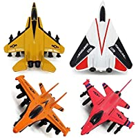 Airplane Toys Set - Die cast Metal Military, Multicolor - 4 Pieces