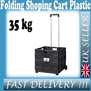Folding Shopping Cart Plastic Trolley Extending & Carry Handles - Boot Tidy 35kg by KD & JAY