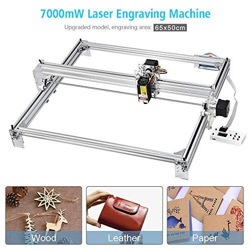Machine de gravure laser, bois cnc routeur, marquage d'image de logo d'imprimante de DIY, Imprimante de bureau de 2 axes pour le plastique en bois en cuir, 65x50cm, 7000MW