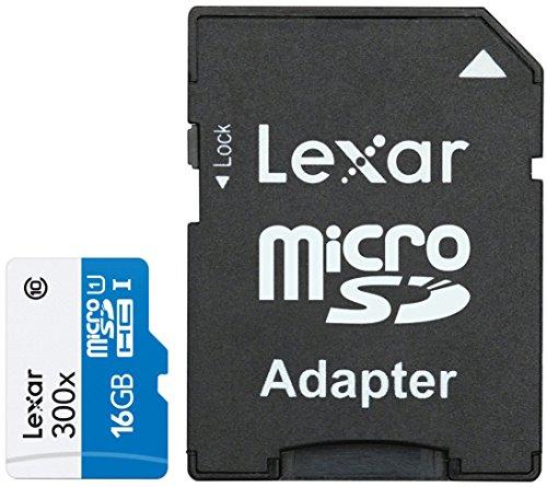 Lexar scheda di memoria micro sdhc, 300x, high speed con adattatore, classe 10, 16 gb, bianco/blu