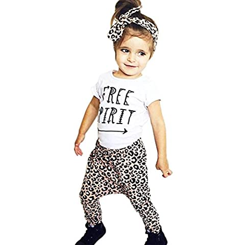 CHIC-CHIC 3PCS Toddler Baby Girl Short Sleeve T shirt Tank Tops + Long Pants Leggings + Headband Casual Clothing Set Outfits Clothes (3-6 Months, White &