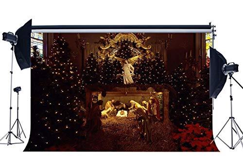 JoneAJ Christmas Manger Backdrop 10X8FT Vinyl Geburt Jesus Christus Backdrops Alte Scheune Krippe Kreuz Heiligen Licht Stroh Weihnachten Fotografie Hintergrund Happy New Year Foto Studio Prop QB125